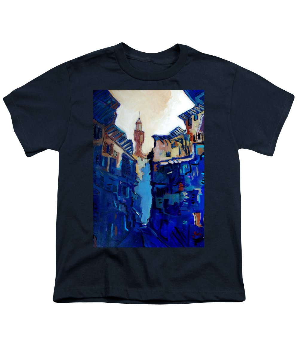 Florence Youth T-Shirt featuring the painting Firenze Street Study by Kurt Hausmann