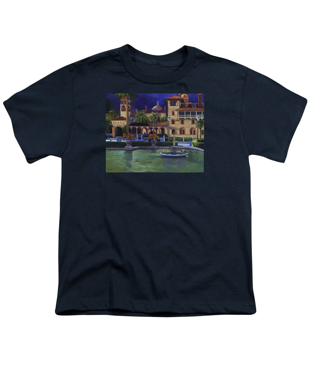 St. Augustine\'s Flagler College Campus Youth T-Shirt featuring the painting Flagler College II by Christine Cousart