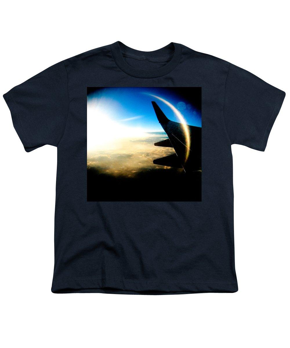 Plane Sky Sun Holga Color Photograph Youth T-Shirt featuring the photograph Fly Like A Dolphin by Olivier De Rycke