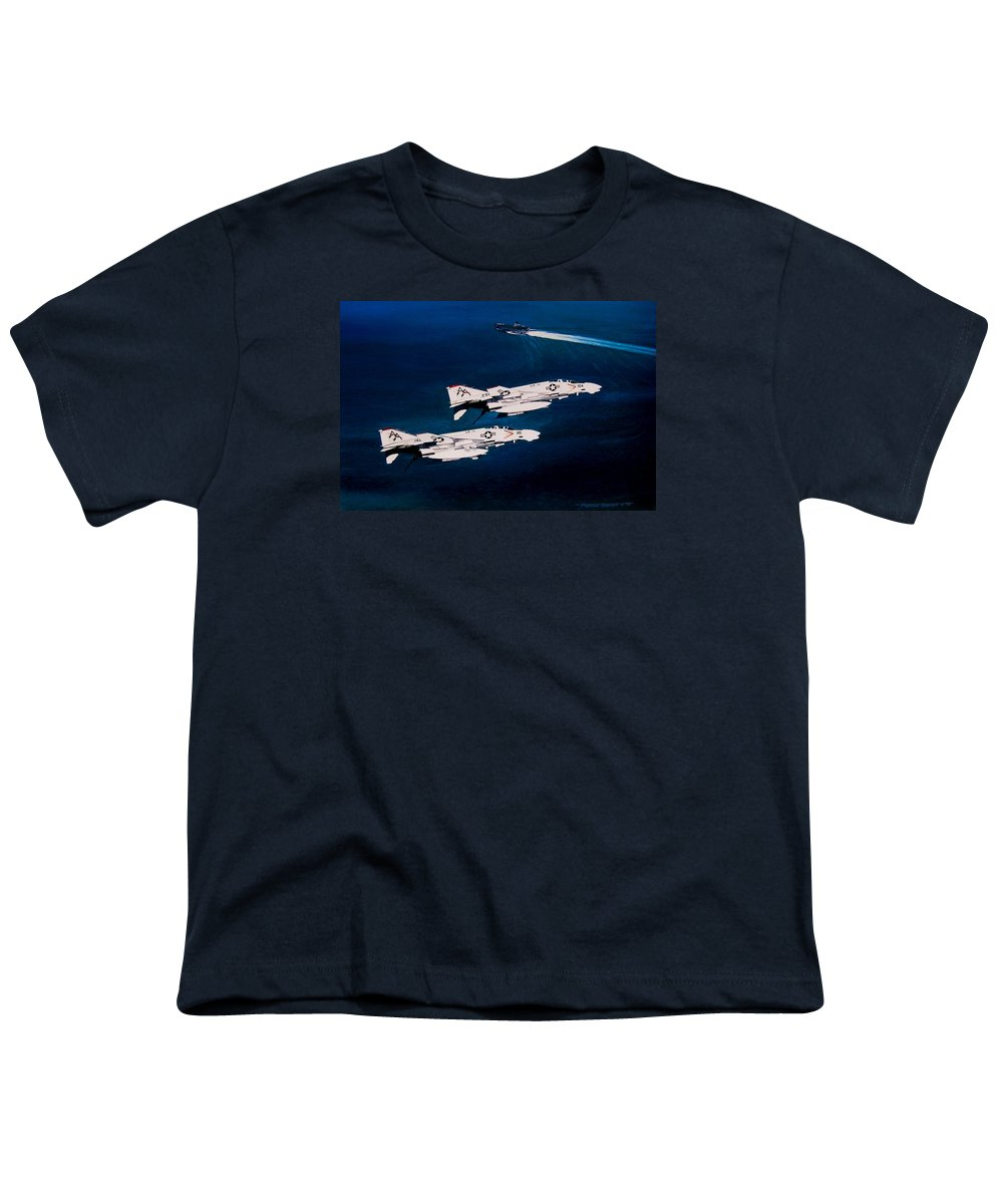 Military Youth T-Shirt featuring the painting Forrestal S Phantoms by Marc Stewart