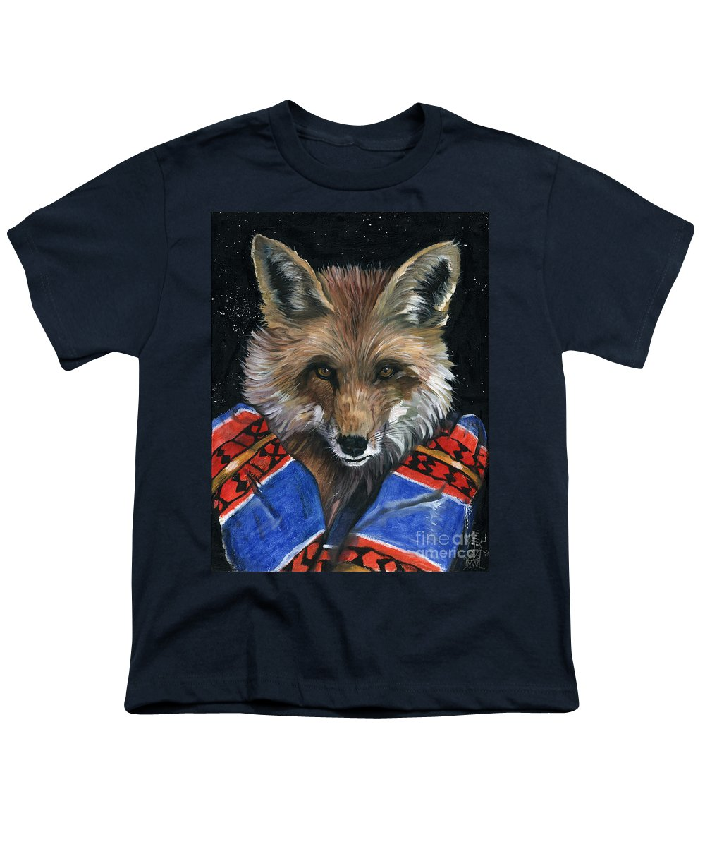 Fox Youth T-Shirt featuring the painting Fox Medicine by J W Baker