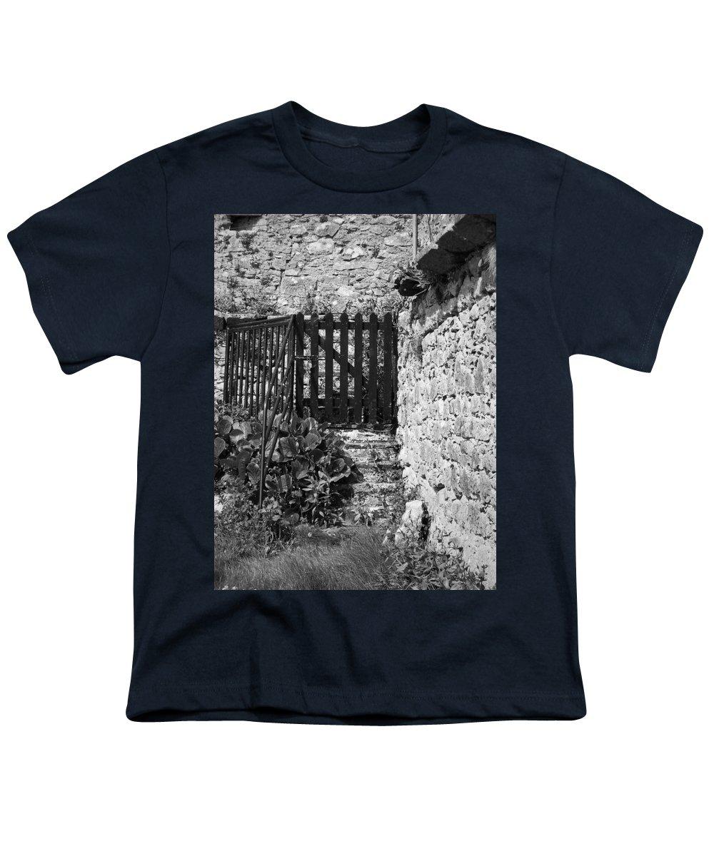 Irish Youth T-Shirt featuring the photograph Gate At Dunguaire Castle Kinvara Ireland by Teresa Mucha