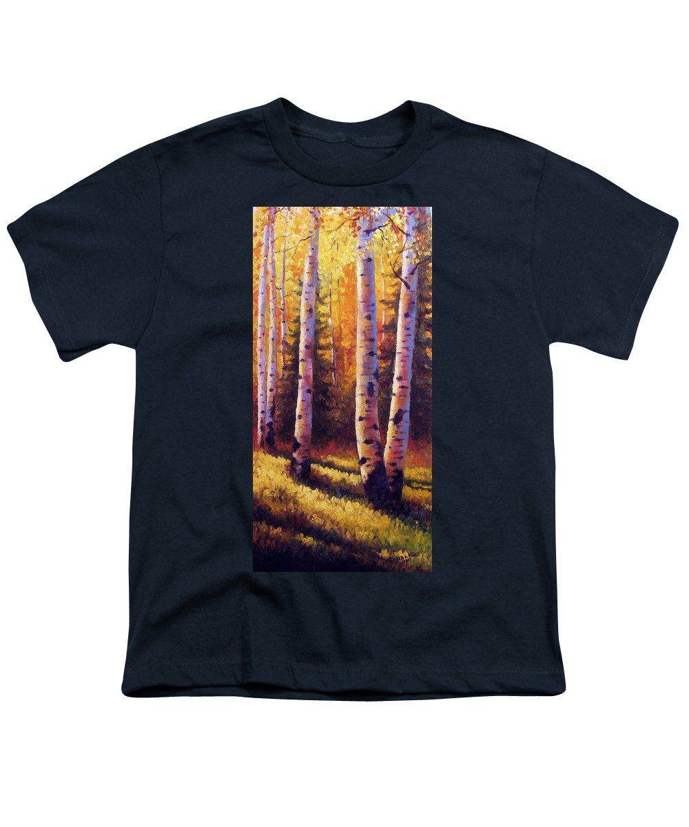 Light Youth T-Shirt featuring the painting Golden Light by David G Paul