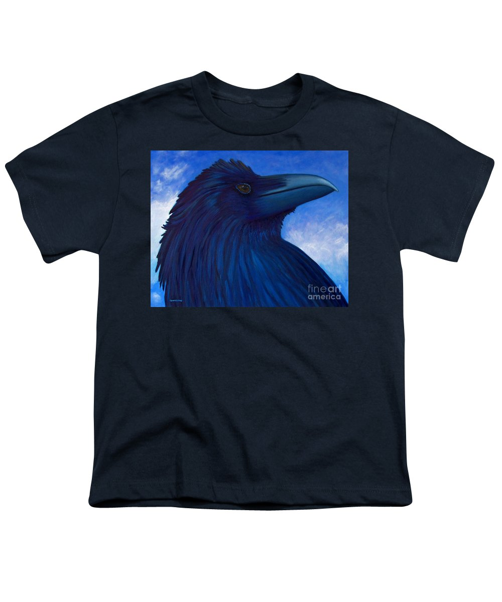Raven Youth T-Shirt featuring the painting Heaven Bound by Brian Commerford