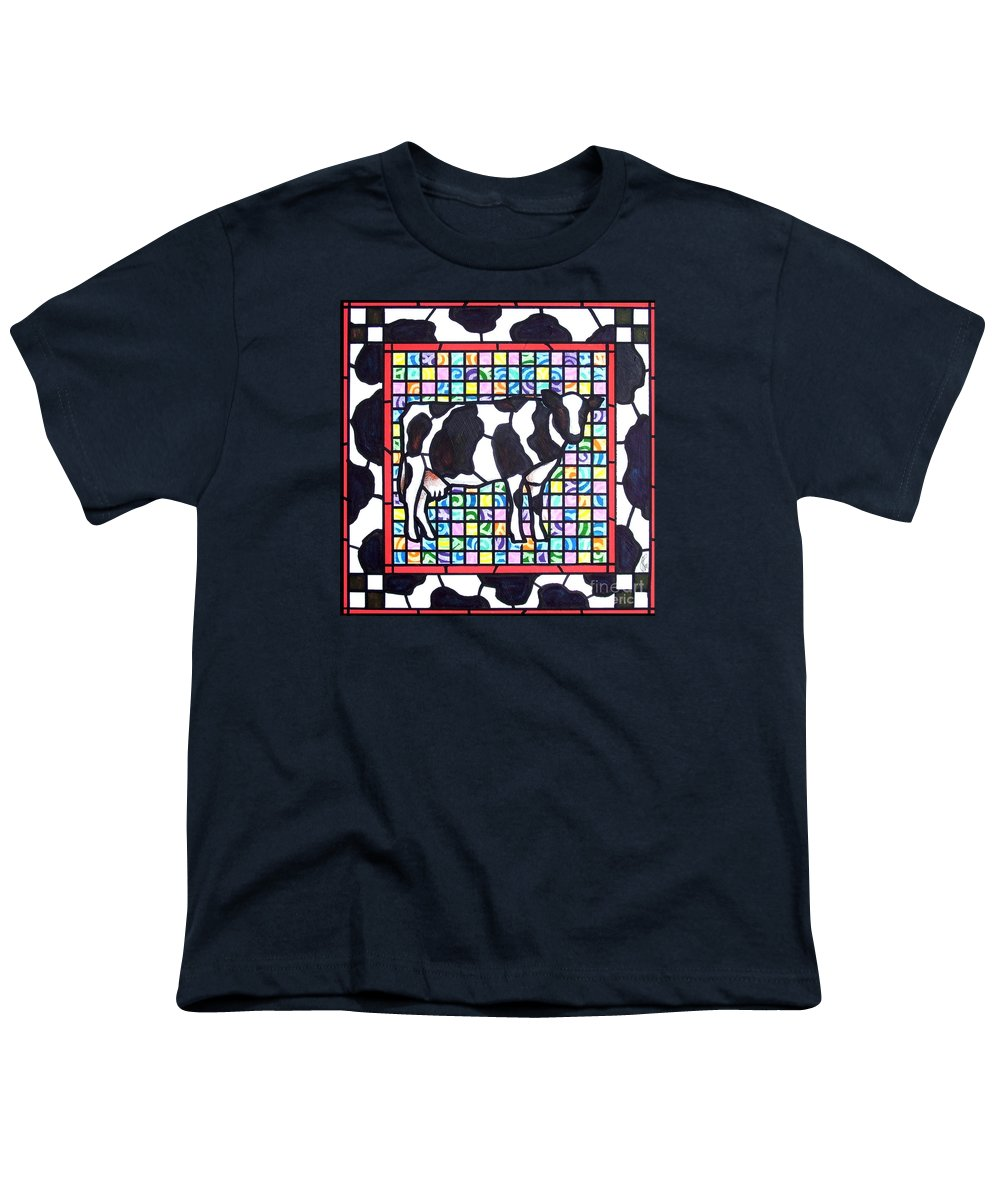 Cattke Youth T-Shirt featuring the painting Holstein 3 by Jim Harris