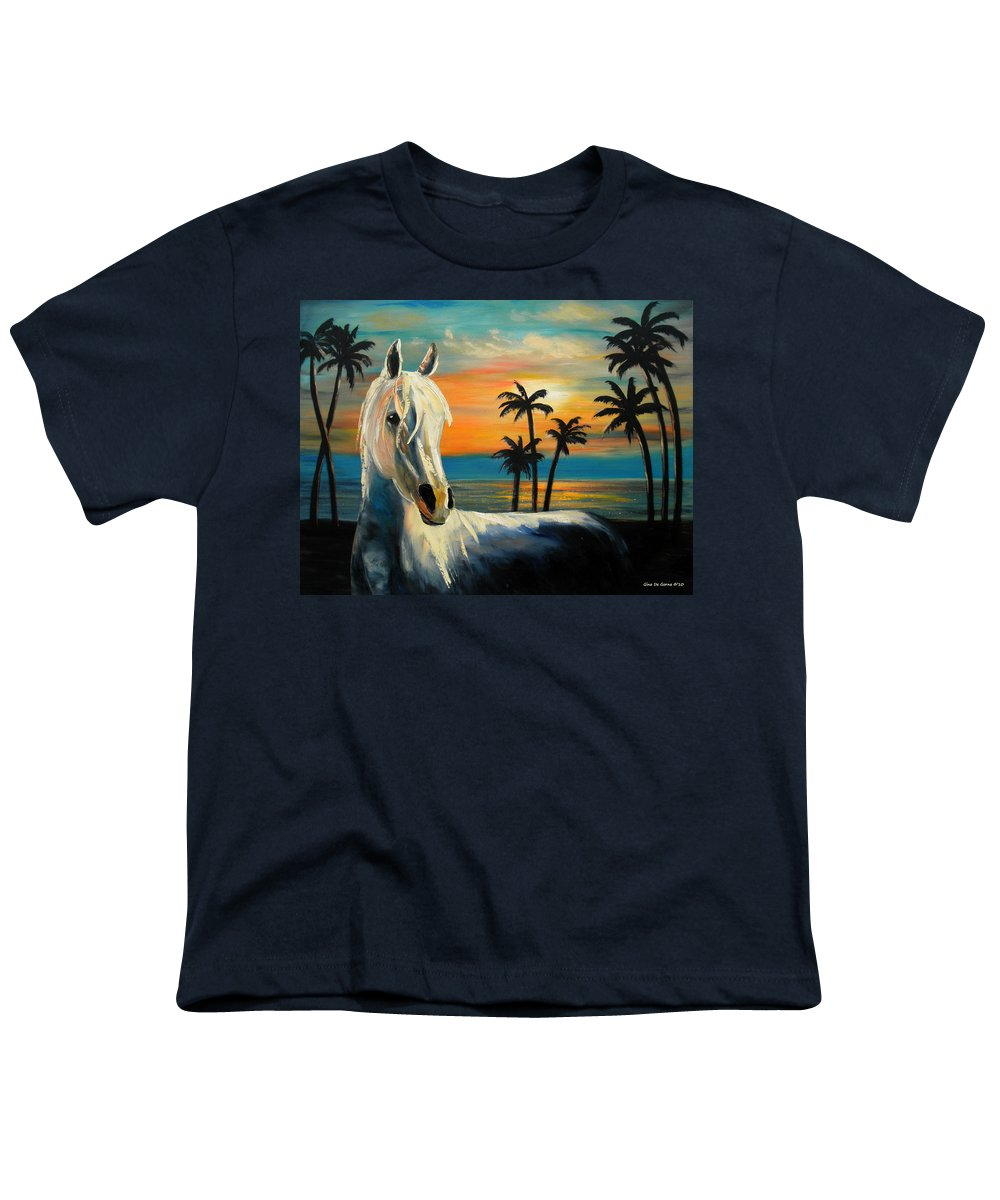 Horse Youth T-Shirt featuring the painting Horses In Paradise Tell Me Your Dream by Gina De Gorna
