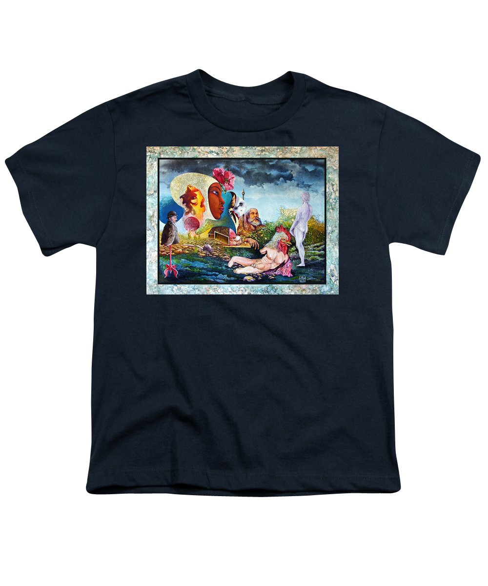 Surrealism Youth T-Shirt featuring the mixed media Hour Of The Cock by Otto Rapp