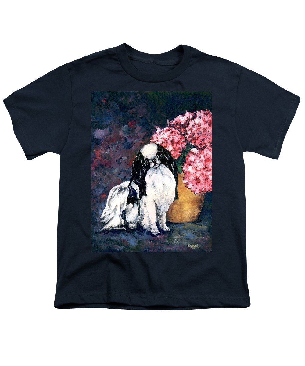 Japanese Chin Youth T-Shirt featuring the painting Japanese Chin And Hydrangeas by Kathleen Sepulveda