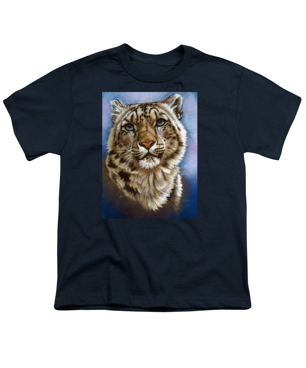 Snow Leopard Youth T-Shirt featuring the pastel Jewel by Barbara Keith