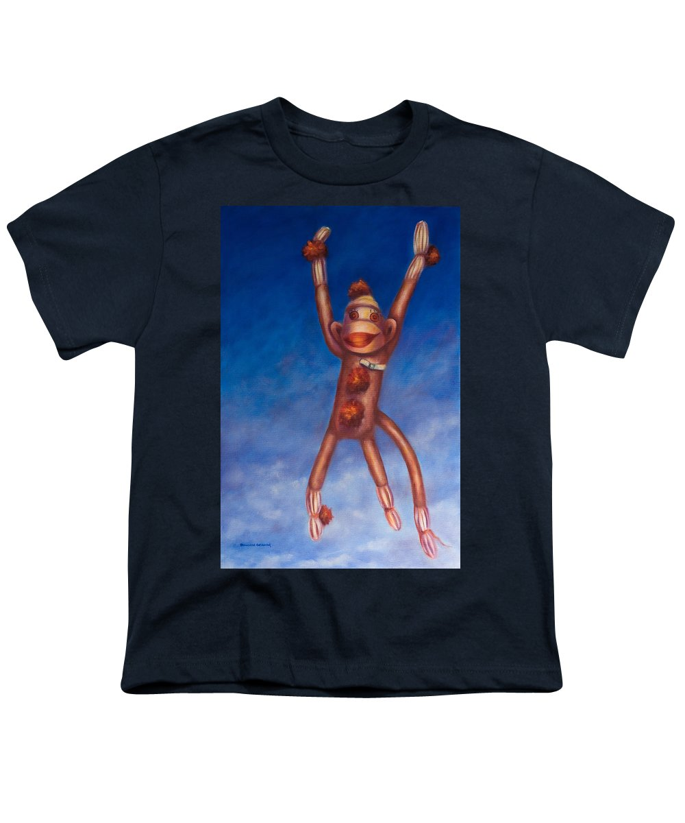 Children Youth T-Shirt featuring the painting Jump For Joy by Shannon Grissom