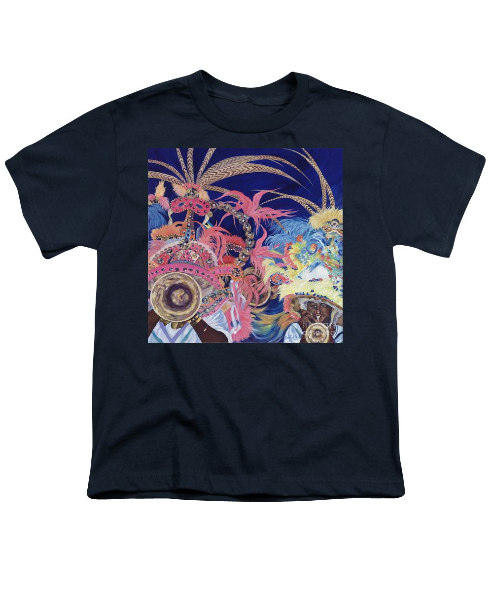 Bahamas Youth T-Shirt featuring the painting Junkanoo by Danielle Perry