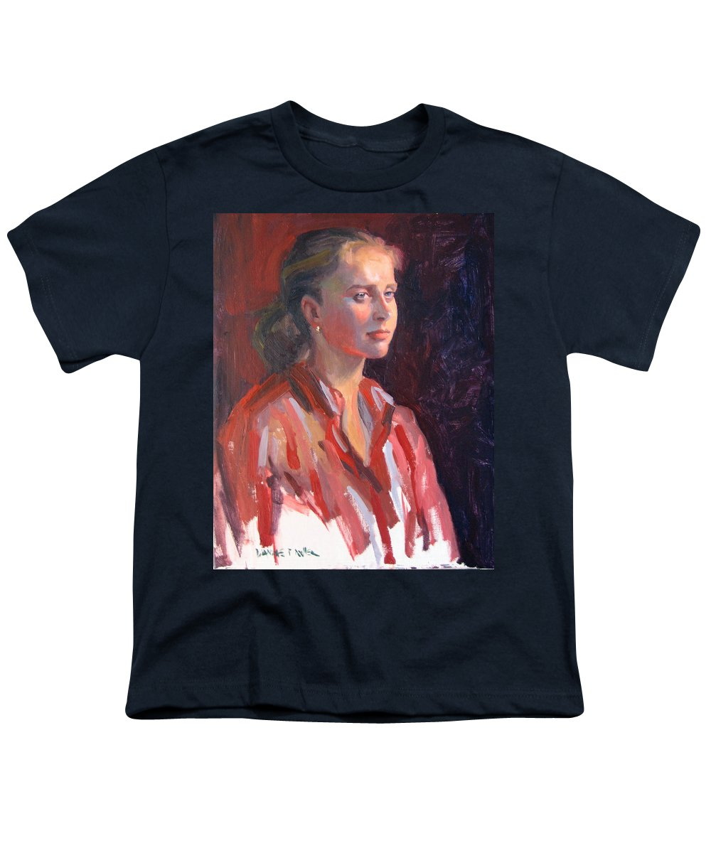 Portrait Youth T-Shirt featuring the painting Kate by Dianne Panarelli Miller
