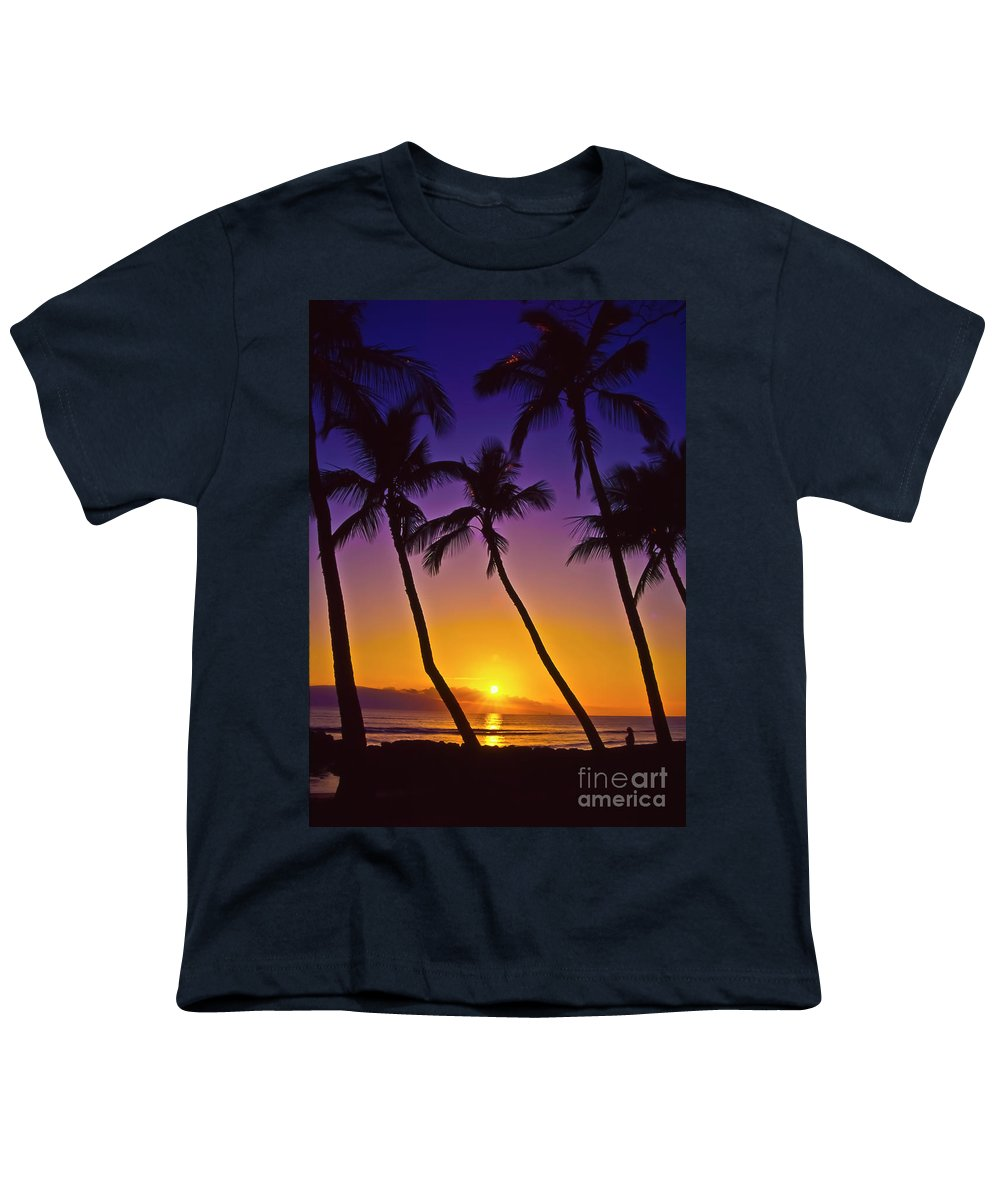 Sunset Youth T-Shirt featuring the photograph Launiupoko Sunset by Jim Cazel