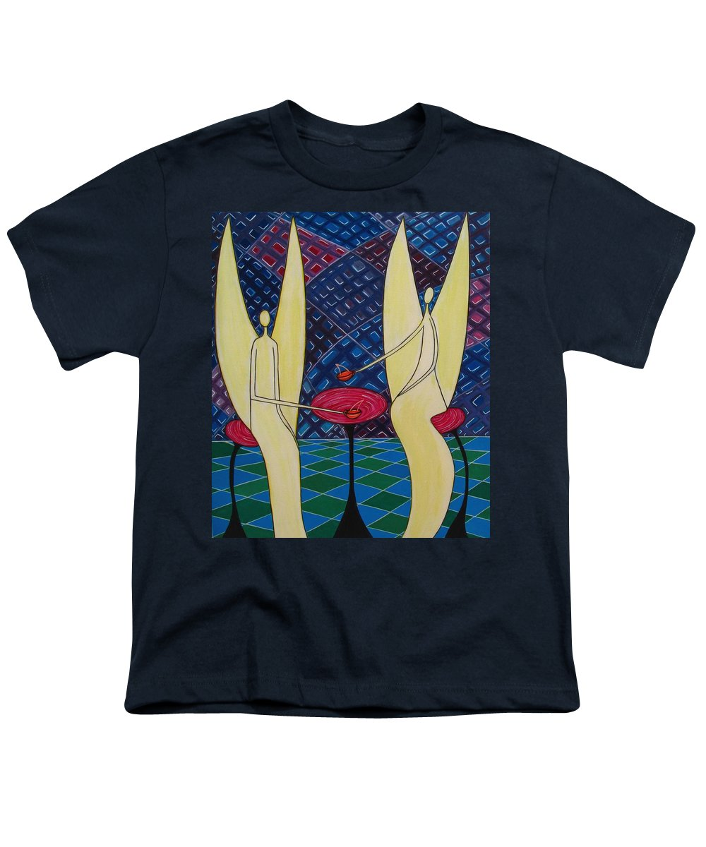 Angels Having Cofee Youth T-Shirt featuring the painting Lite Tea by Sandra Marie Adams