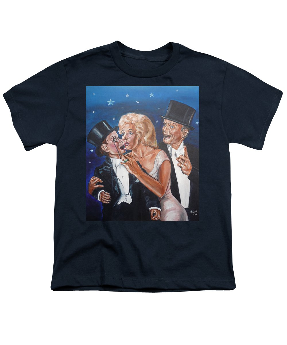 Old Time Radio Youth T-Shirt featuring the painting Marilyn Monroe Marries Charlie Mccarthy by Bryan Bustard