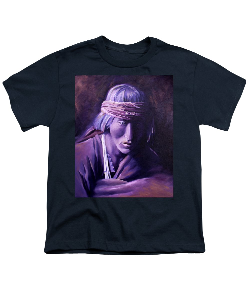Native American Youth T-Shirt featuring the painting Medicine Man by Nancy Griswold