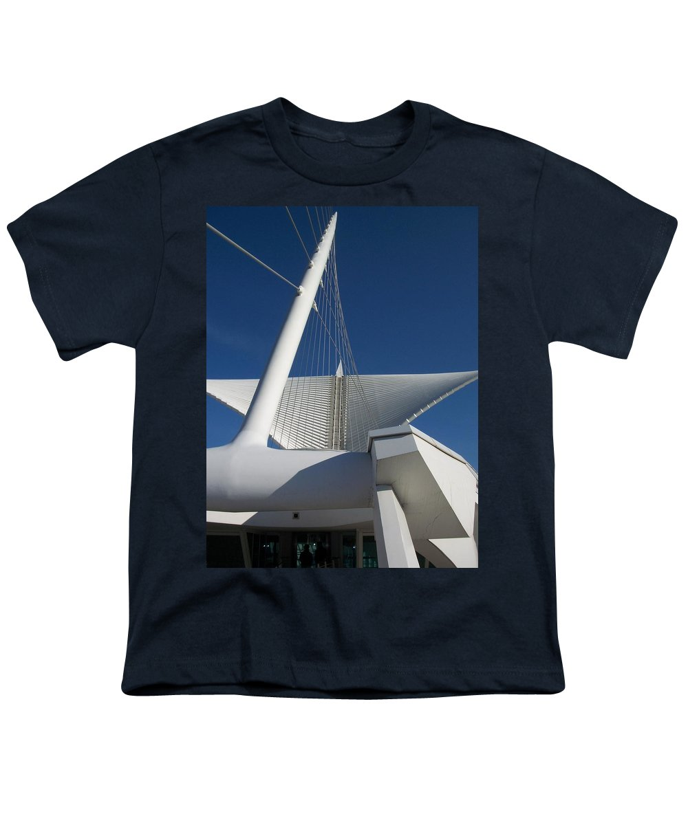 Mam Youth T-Shirt featuring the photograph Milwaukee Art Museum Cropped by Anita Burgermeister