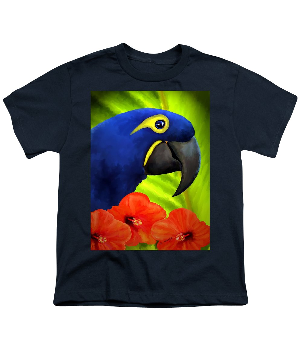 Hyacinth Macaw Youth T-Shirt featuring the painting Mimi by David Wagner