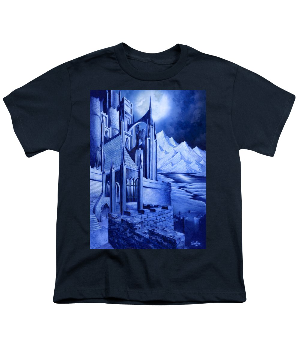 Lord Of The Rings Youth T-Shirt featuring the mixed media Minas Tirith by Curtiss Shaffer
