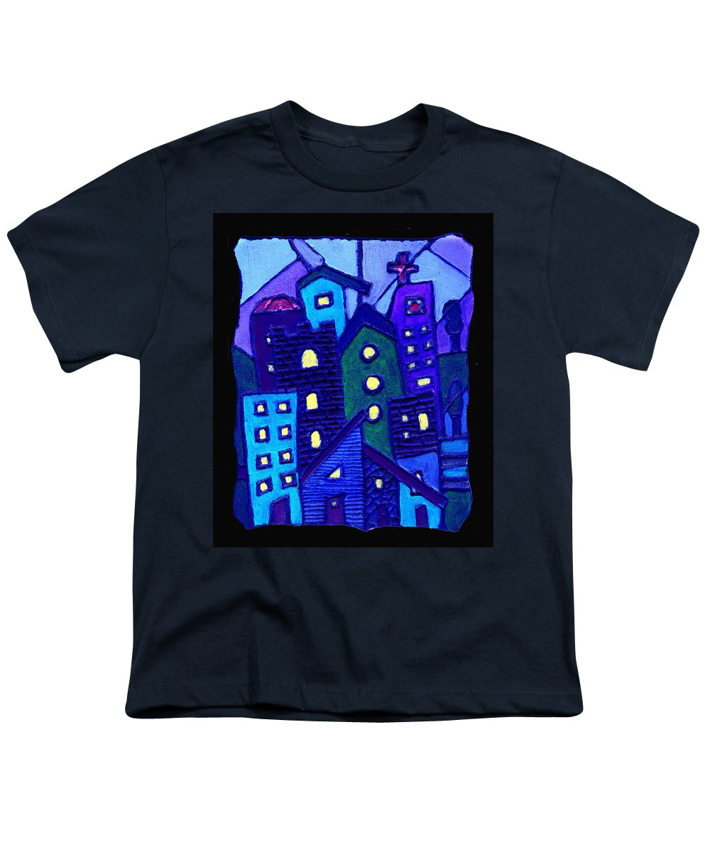 Urban Youth T-Shirt featuring the painting Neighborhood Blues by Wayne Potrafka