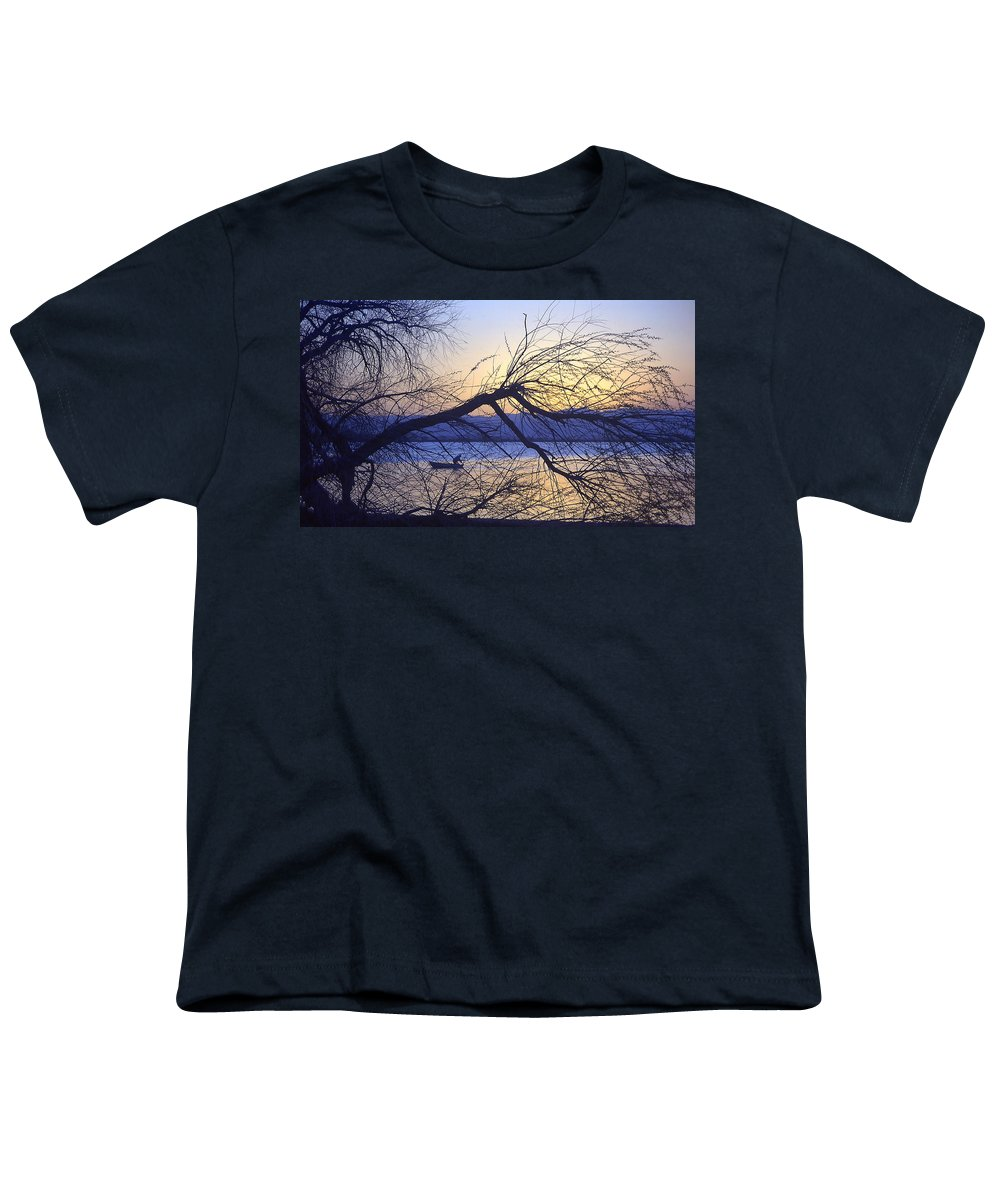 Barr Lake Youth T-Shirt featuring the photograph Night Fishing In Barr Lake Colorado by Merja Waters