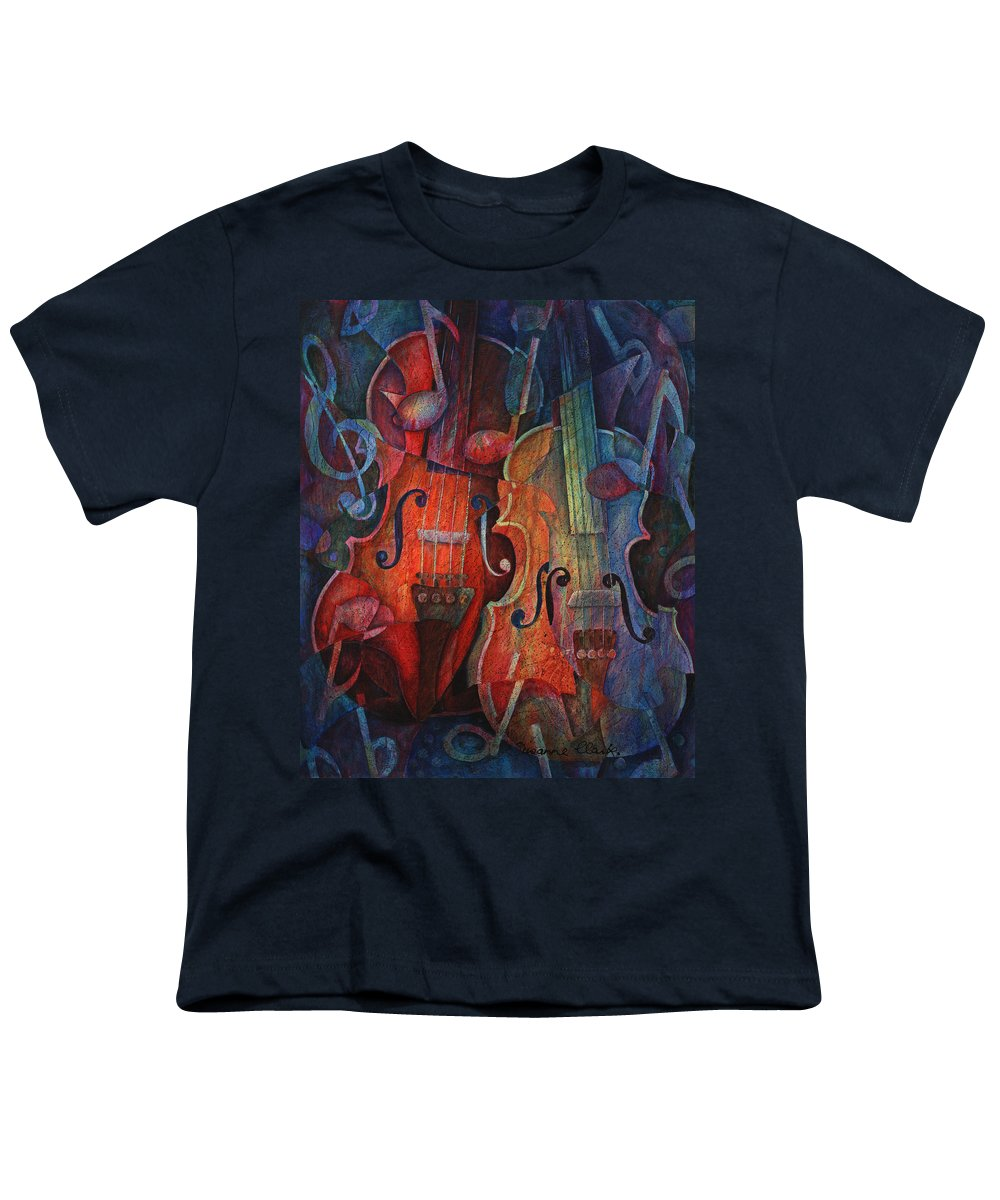 Susanne Clark Youth T-Shirt featuring the painting Noteworthy - A Viola Duo by Susanne Clark
