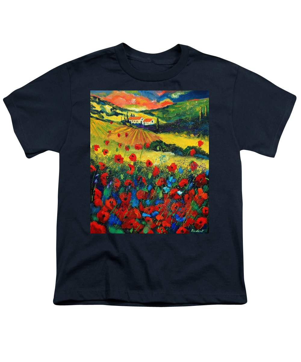Flowers Youth T-Shirt featuring the painting Poppies In Tuscany by Pol Ledent