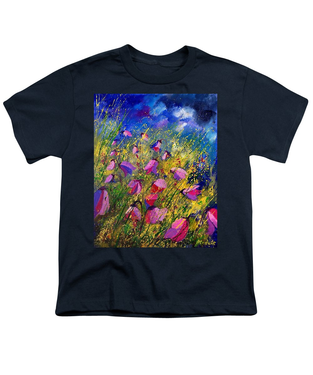 Poppies Youth T-Shirt featuring the painting Purple Wild Flowers by Pol Ledent