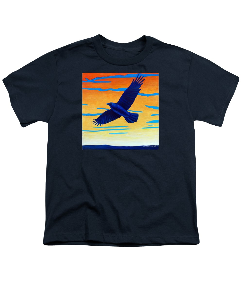Raven Youth T-Shirt featuring the painting Raven Rising by Brian Commerford
