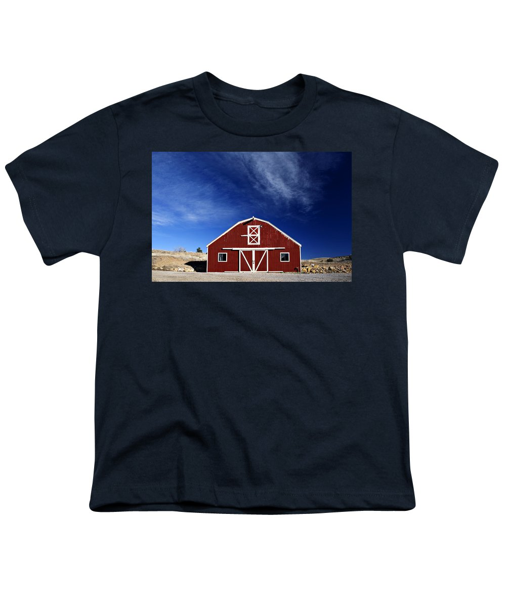 Americana Youth T-Shirt featuring the photograph Red And White Barn by Marilyn Hunt