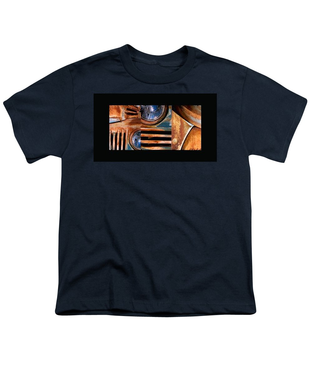 Abstract Photo Of Chevy Truck Youth T-Shirt featuring the photograph Red Head On by Steve Karol