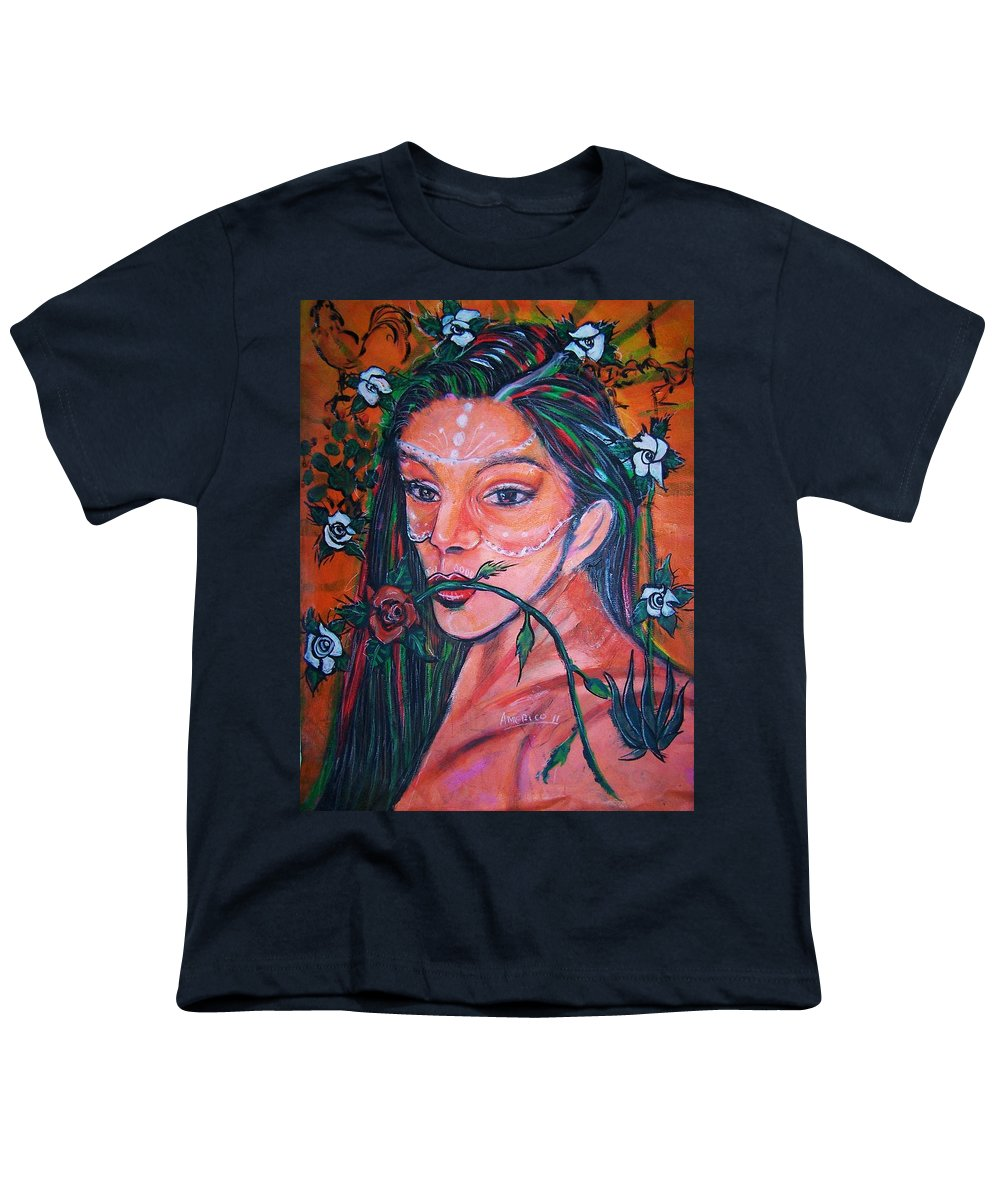 Latina Youth T-Shirt featuring the painting Rosales Latina by Americo Salazar