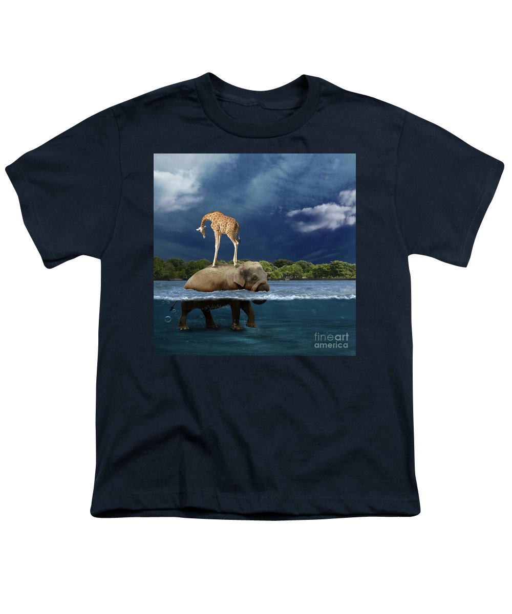 Girafe Youth T-Shirt featuring the photograph Safe by Martine Roch