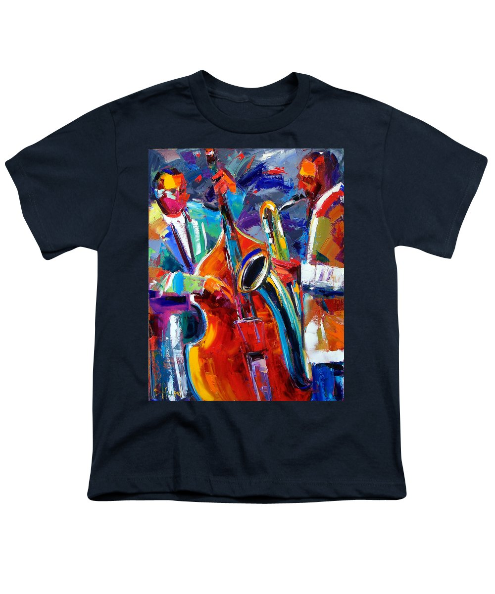Jazz Painting Youth T-Shirt featuring the painting Sax And Bass by Debra Hurd
