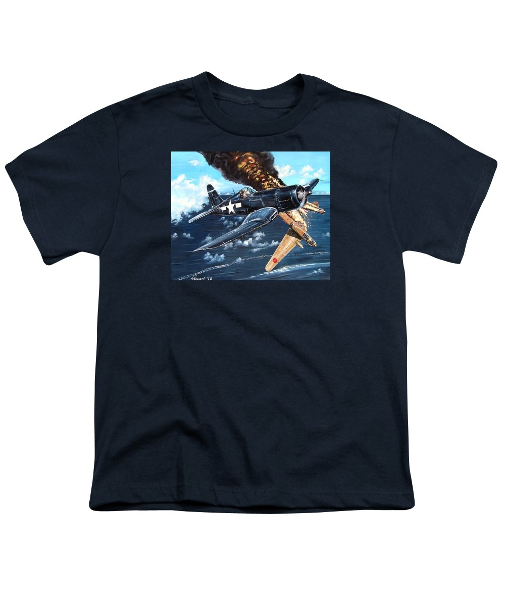 Military Youth T-Shirt featuring the painting Scratch One Betty by Marc Stewart