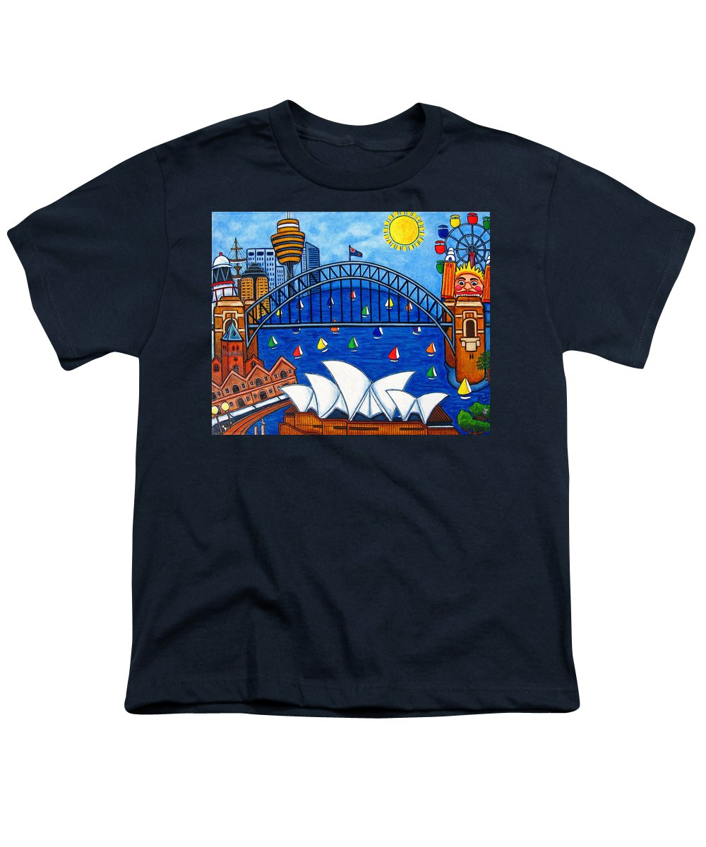 House Youth T-Shirt featuring the painting Sensational Sydney by Lisa Lorenz