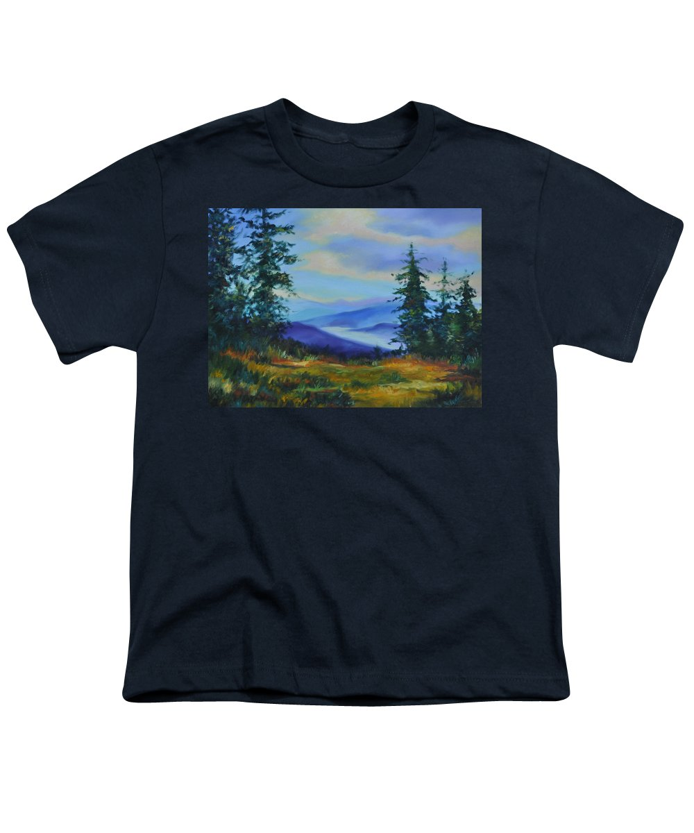 Alaska Mountains Youth T-Shirt featuring the painting Seven Mile Saddle by Ginger Concepcion