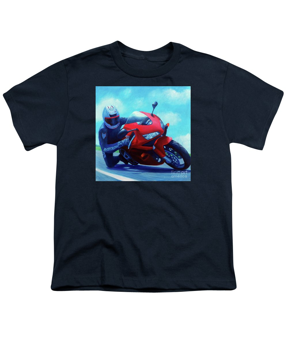 Motorcycle Youth T-Shirt featuring the painting Sky Pilot - Honda Cbr600 by Brian Commerford