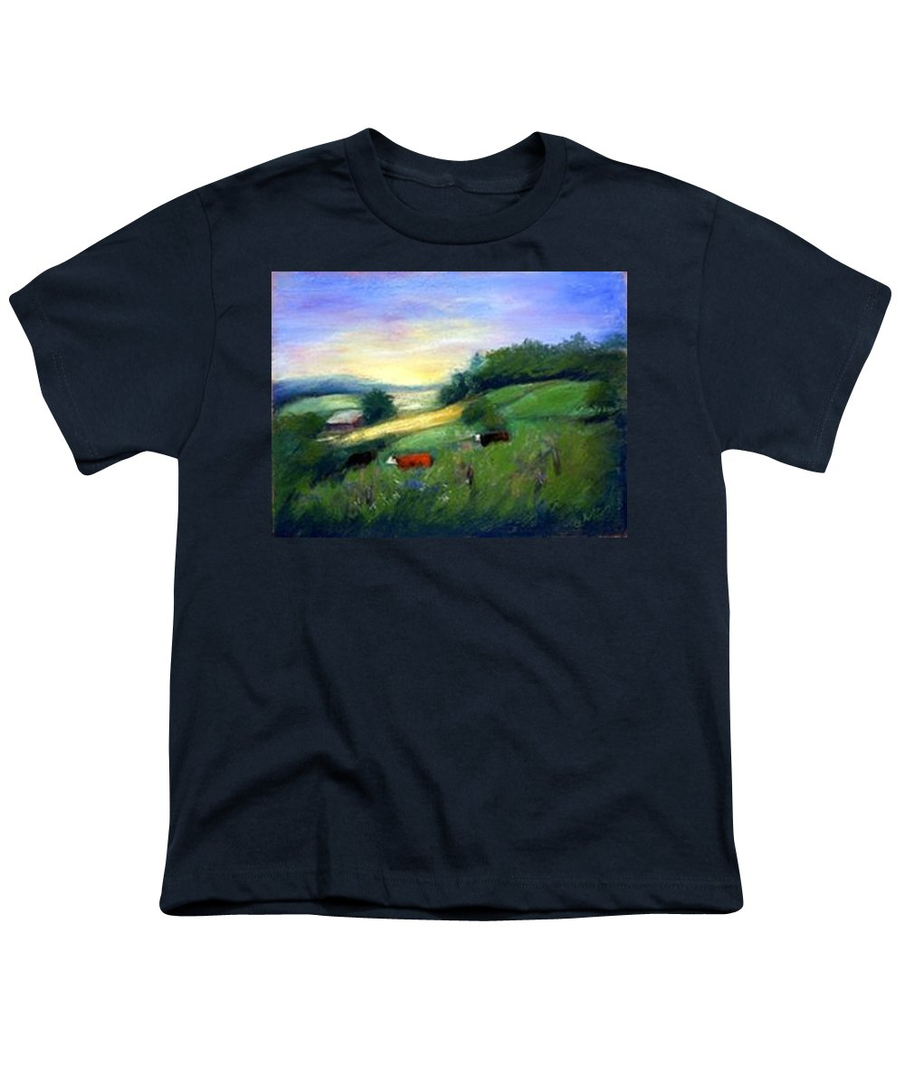 Landscape Youth T-Shirt featuring the painting Southern Ohio Farm by Gail Kirtz