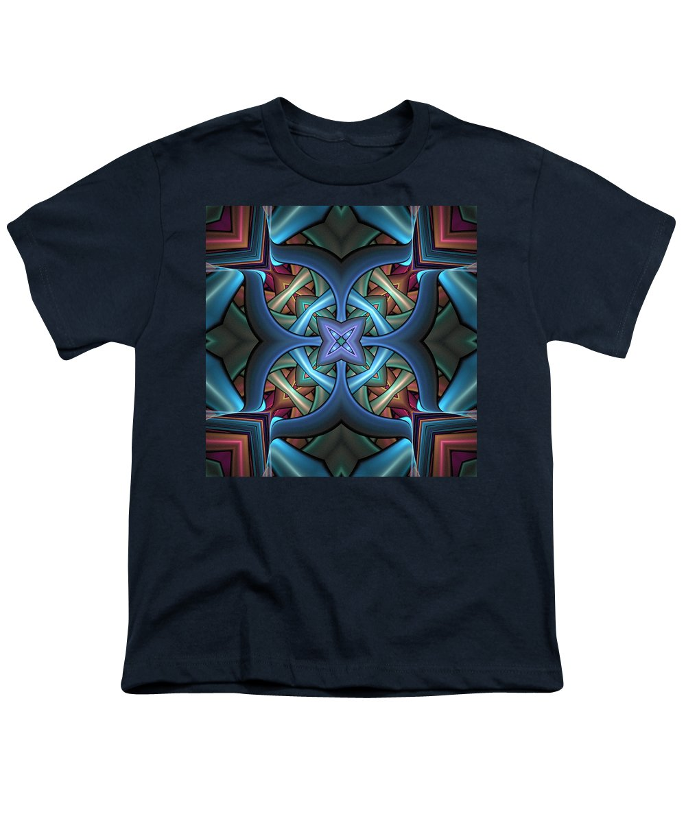 Digital Art Youth T-Shirt featuring the digital art Stacked Kaleidoscope by Amanda Moore