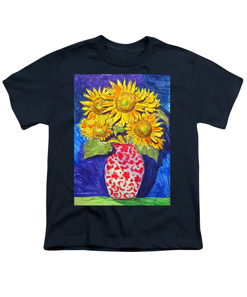 Sunflower Youth T-Shirt featuring the painting Sunny Disposition by Jean Blackmer