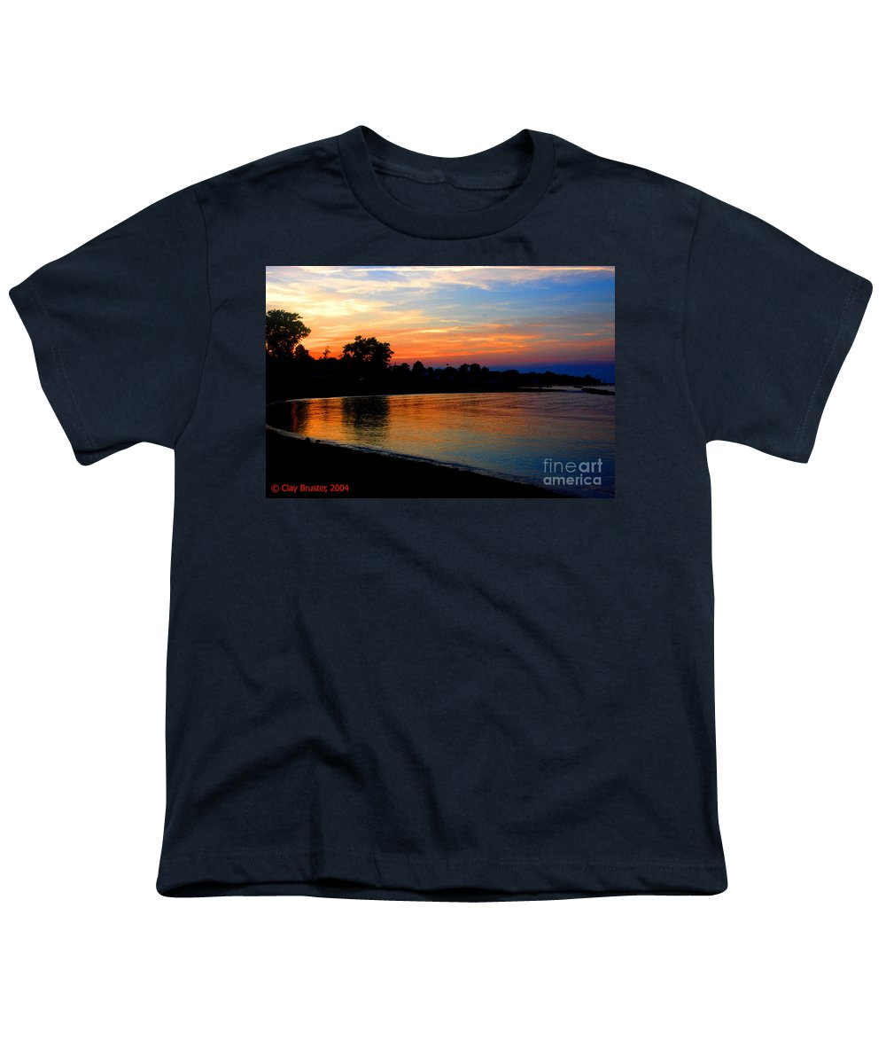 Clay Youth T-Shirt featuring the photograph Sunset At Colonial Beach Cove by Clayton Bruster