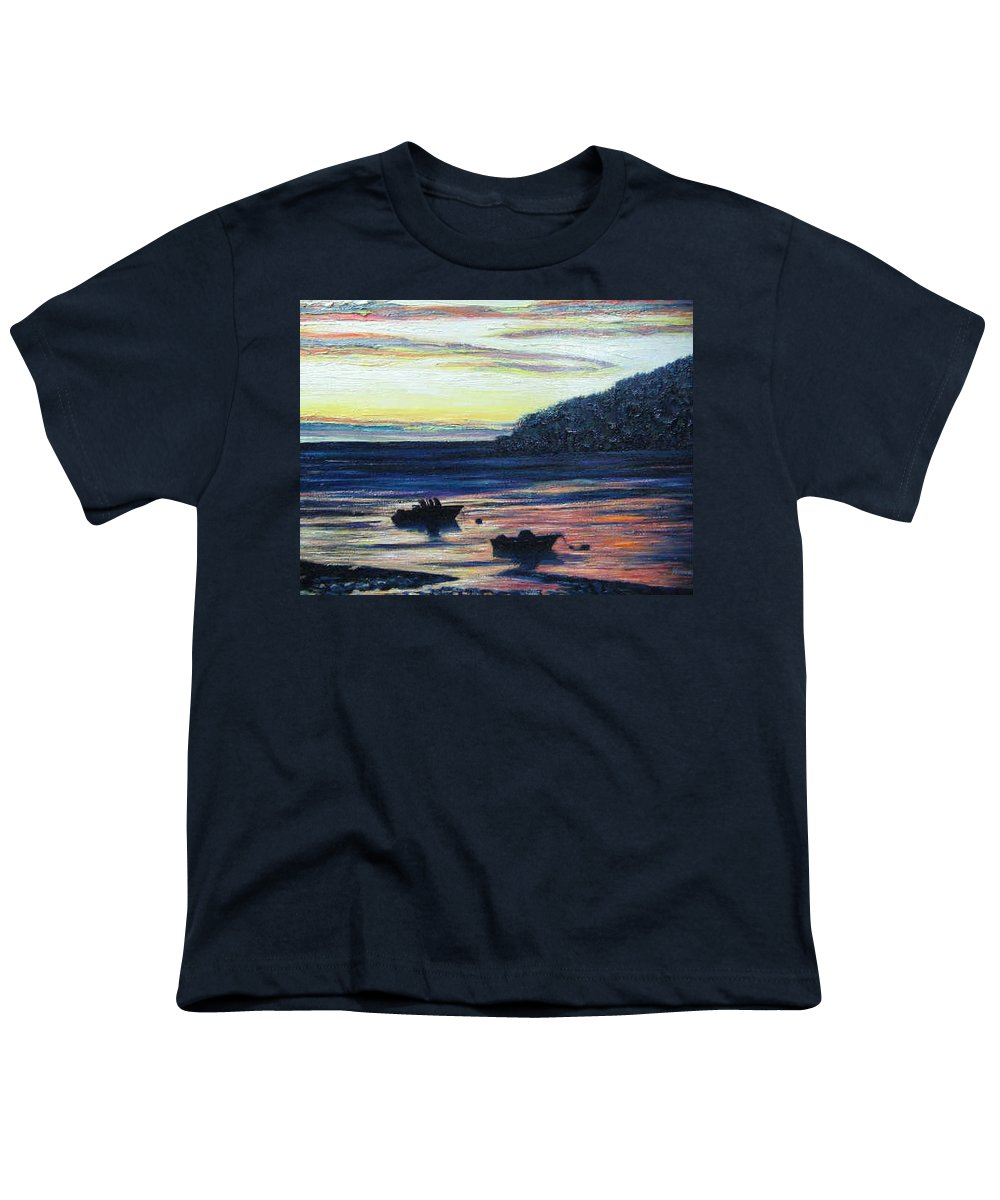 Maine Youth T-Shirt featuring the painting Sunset On Maine Coast by Richard Nowak