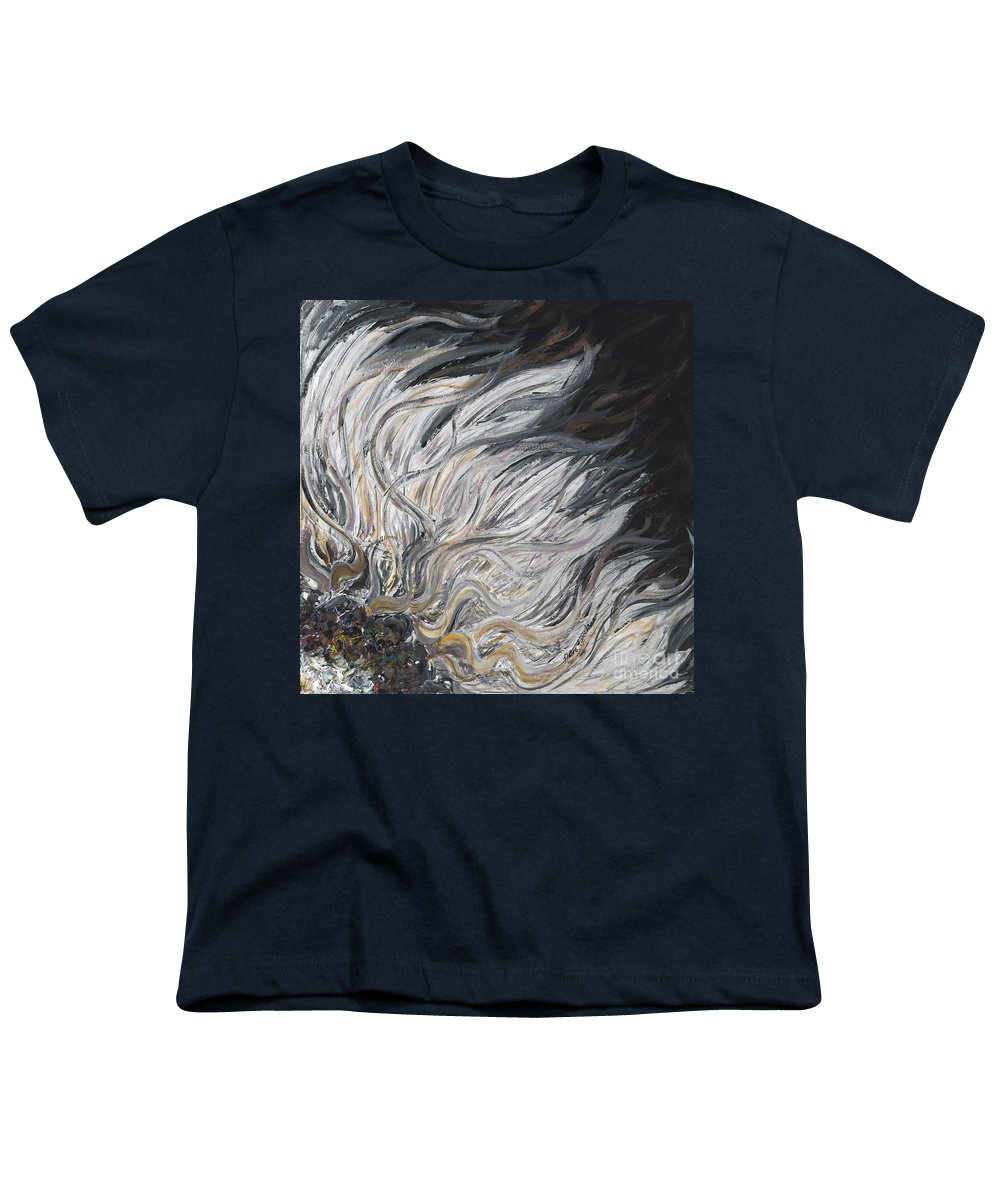 White Youth T-Shirt featuring the painting Textured White Sunflower by Nadine Rippelmeyer