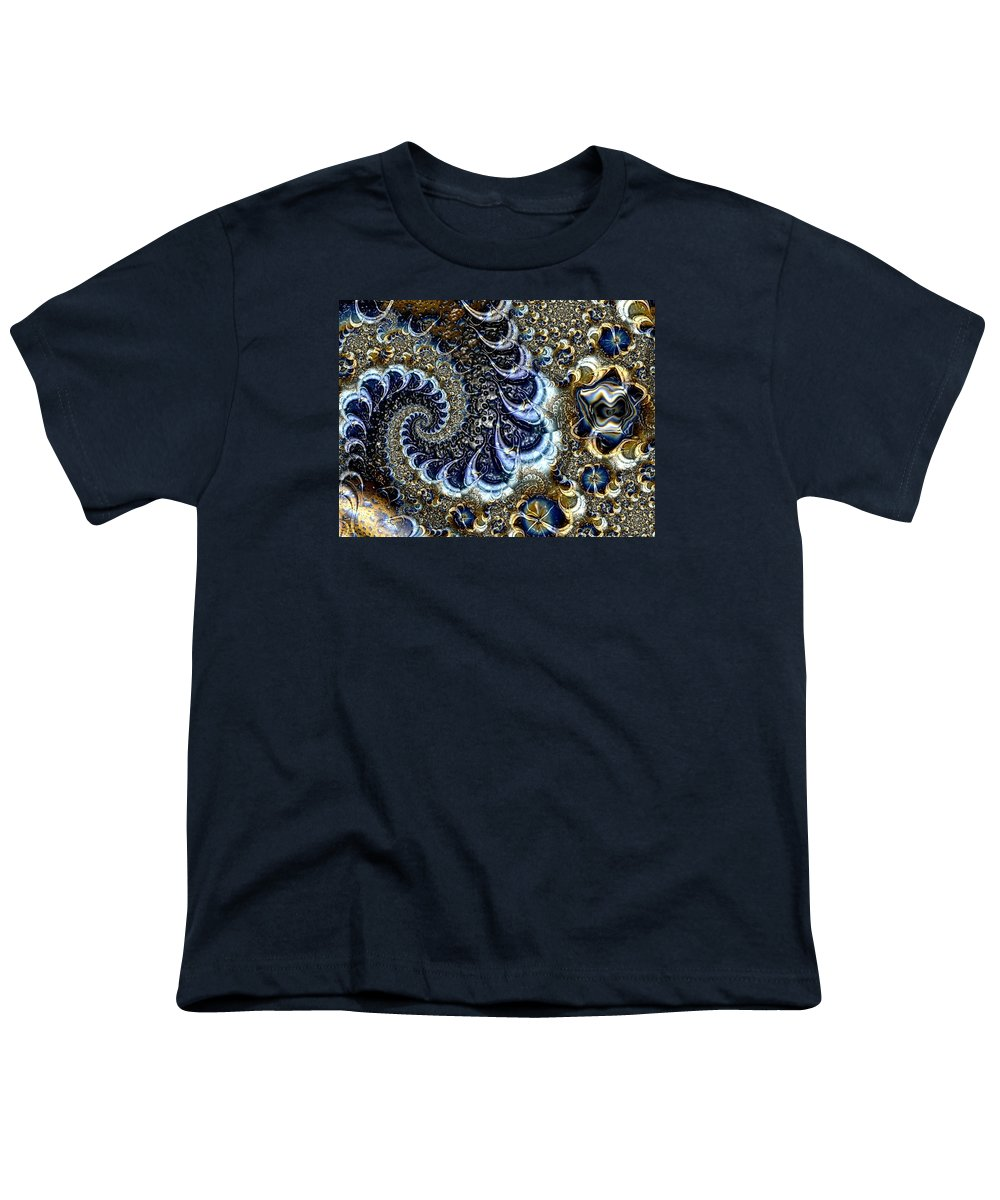 Fractal Diamonds Blue Jewel Dance River Youth T-Shirt featuring the digital art The Blue Diamonds by Veronica Jackson
