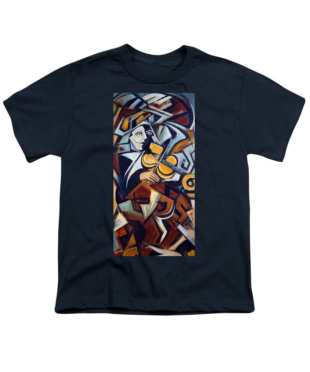 Musician Youth T-Shirt featuring the painting The Fiddler by Valerie Vescovi