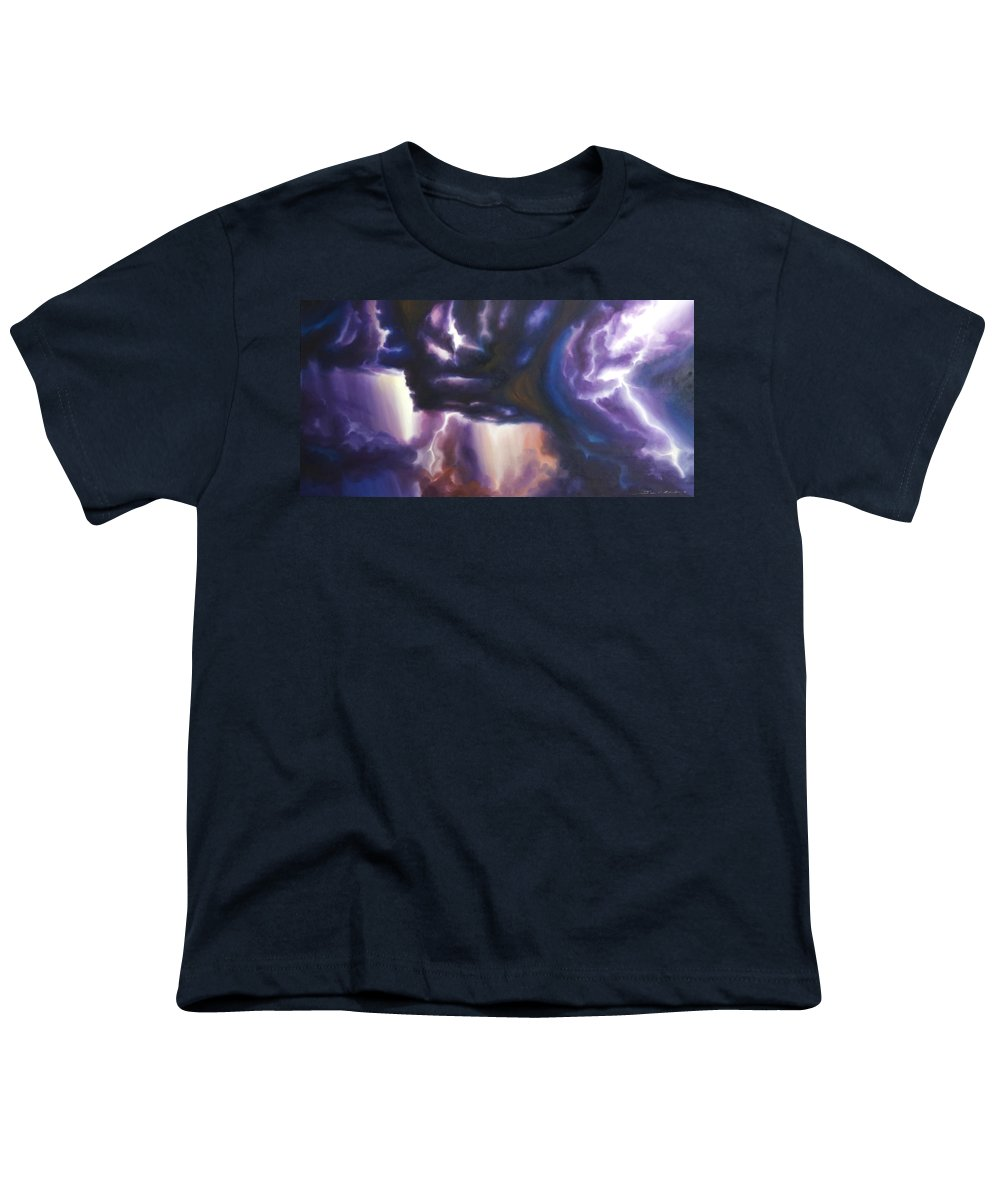 Tempest Youth T-Shirt featuring the painting The Lightning by James Christopher Hill