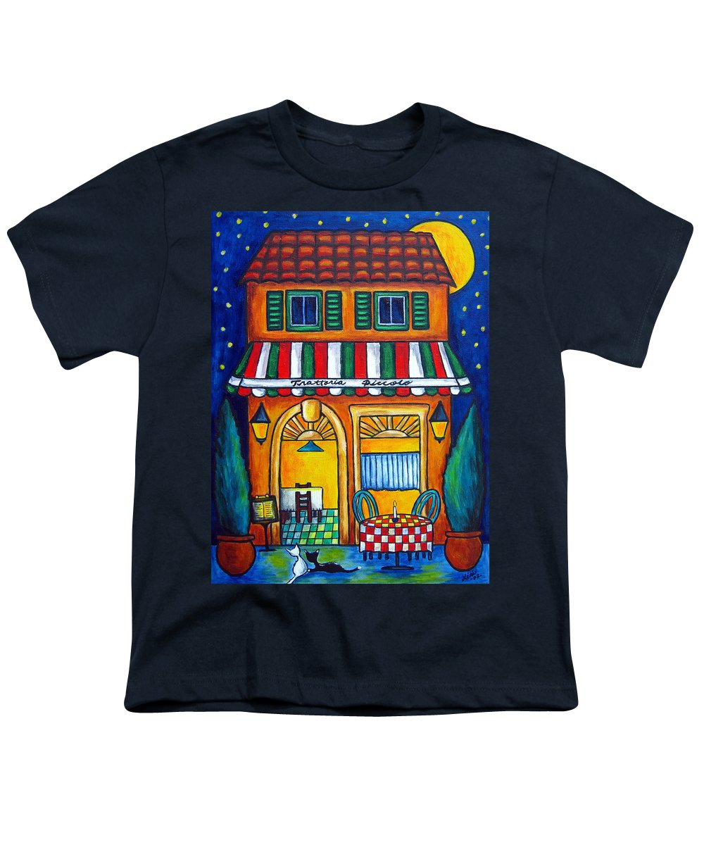 Blue Youth T-Shirt featuring the painting The Little Trattoria by Lisa Lorenz