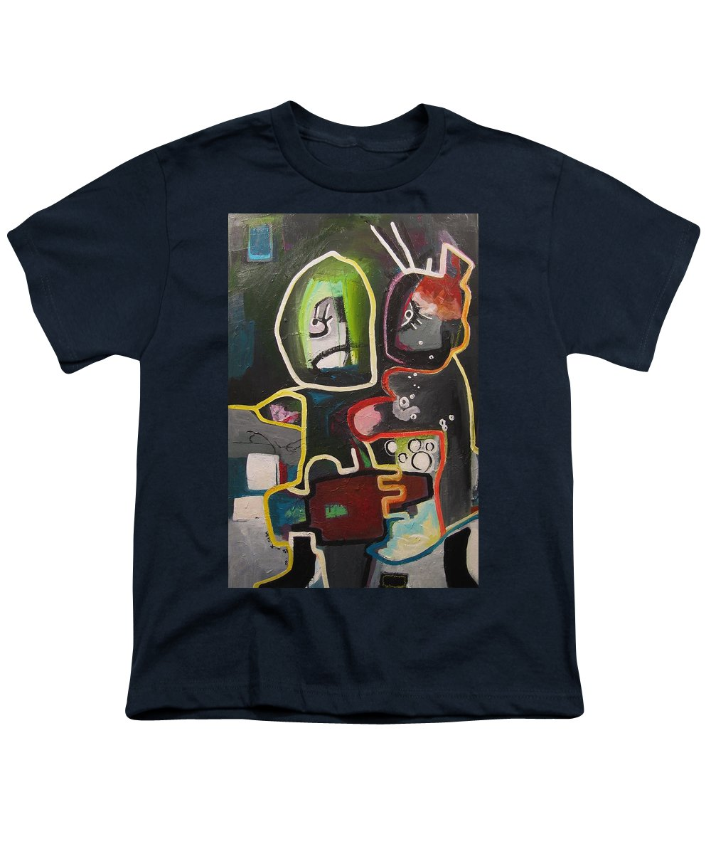 Couple Paintings Youth T-Shirt featuring the painting To Get Along by Seon-Jeong Kim
