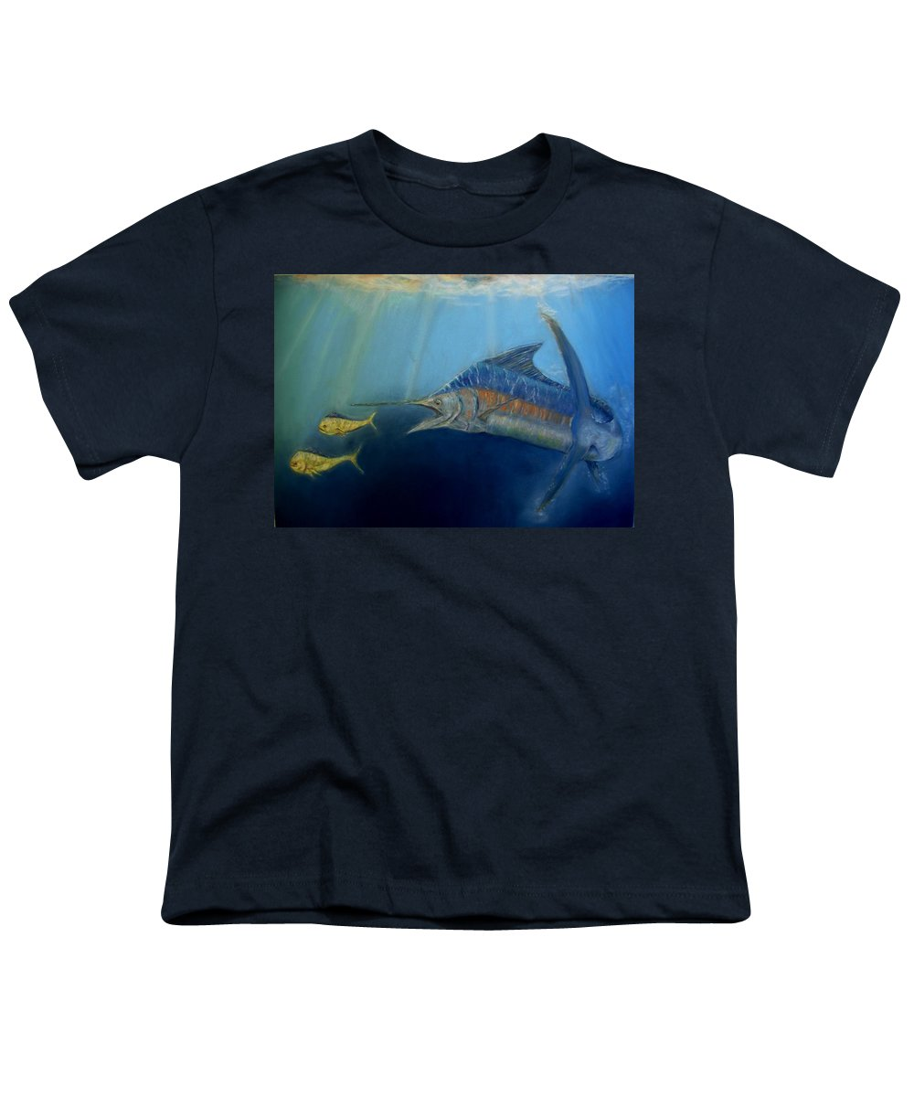 Marine Wildlife Youth T-Shirt featuring the pastel Two For Lunch by Ceci Watson